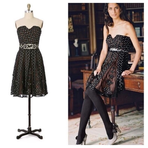 dc30e1704f17d Anthropologie Dresses | Lithe Champagne Cocktail Dress 4 Blk | Poshmark